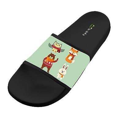 KOUY Summer Unisex Little Girl Walking In Forest Home Slippers Bath//Beach Non Slip Slide Sandals