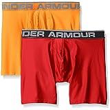 Under Armour Men's O Series 6'' Boxerjock (2 Pack), Pierce/Magma Orange, Medium