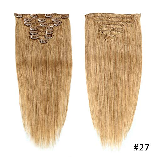Gold Clip in Human Hair Extensions Double Weft Full Head 14