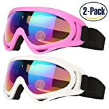 Ski Goggles, Pack of 2, Skate Glasses for Kids, Boys & Girls, Youth, Men & Women, with UV 400 Protection, Wind Resistance, Anti-Glare Lenses, made by COOLOO, White / Pink