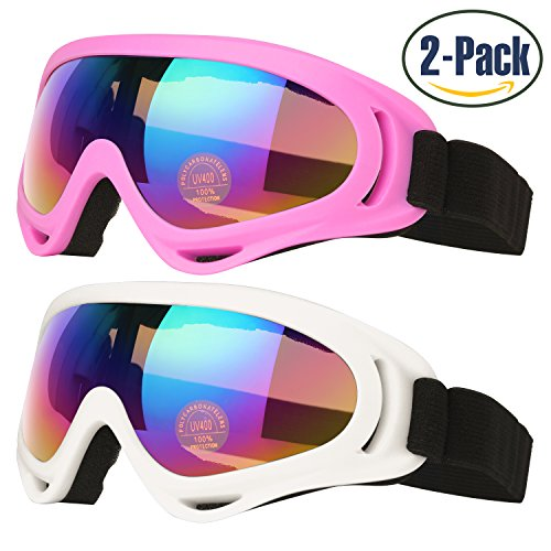 Ski Goggles, Pack of 2, Skate Glasses for Kids, Boys & Girls, Youth, Men & Women, with UV 400 Protection, Wind Resistance, Anti-Glare Lenses, made by COOLOO, White / - Best Glasses Riding
