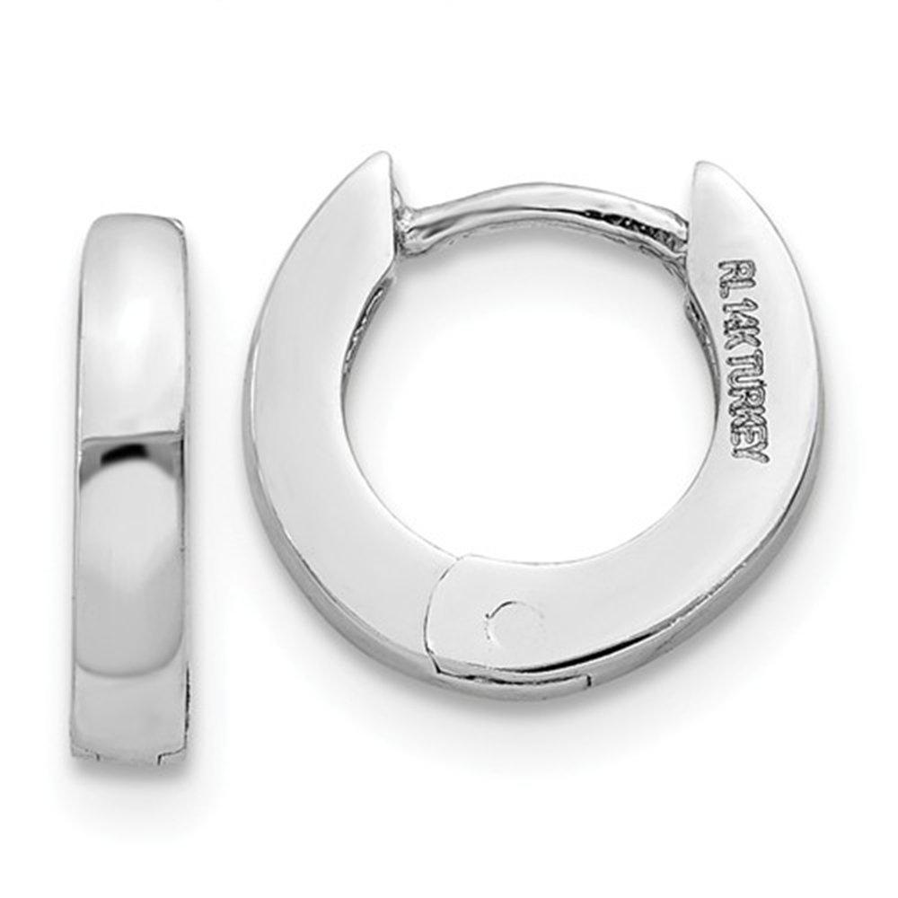Small 14K White Gold Hinged Huggie Hoop Earrings, 0.4 In (9mm) (2mm Wide)
