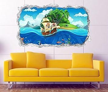 3d Wandtattoo Kinderzimmer Pirat Schiff Schatzkarte Meer Wand