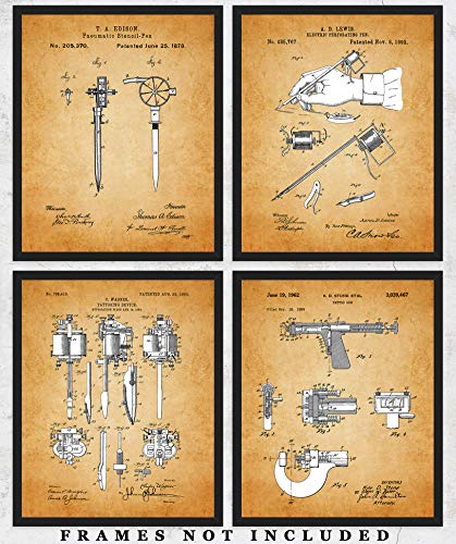 Vintage Tattoo Patent Wall Art Prints: Unique Room Decor for Men & Women - Set of Four (8x10) Unframed Pictures - Great Gift Idea for Tattoo Artists and Tattoo Enthusiasts!
