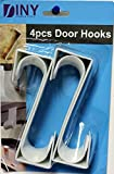 Over The Door Hooks Hangers, Laundry Hanger White Plastic 4 Pack Coats Towels Clothes