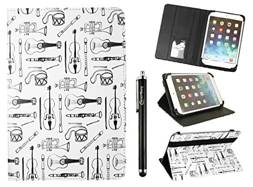 Emartbuy Universal 9-10 Inch Musical Instruments Multi Angle Folio Wallet Case Cover with Card Slots Black Elastic Strap and Stylus Pen Suitable for Selected Devices Listed Below