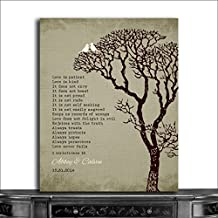 9.5x12 Metal Art Print Personalized Gift For 10th Wedding Anniversary Gift For Couple 1 Corinthians 13 Love Is Patient Faux Texture Background White Love Birds Carved Initials Custom Wedding Art