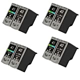 HOTCOLOR 8 Pack for CL-41 and PG-40 Compatible Ink Cartridges: 4 Black and 4 Color for PIXMA MP150 MP140