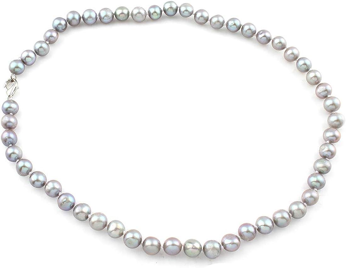 TreasureBay - Collar de perlas naturales de agua dulce de 7 a 8 mm, color gris (44 cm)