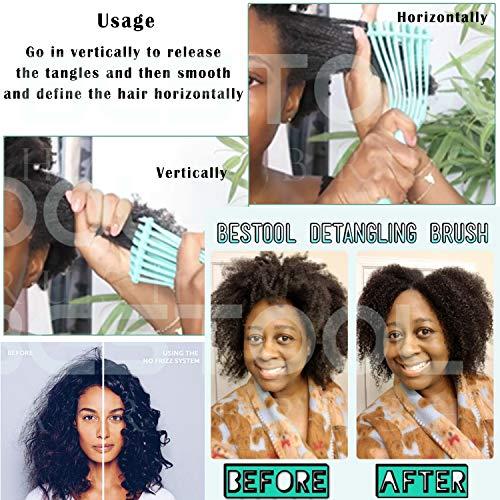 BESTOOL Detangling Brush for Black Natural Hair, Detangler Brush for Natural Black Hair Curly Hair Afro 3/4abc Texture…