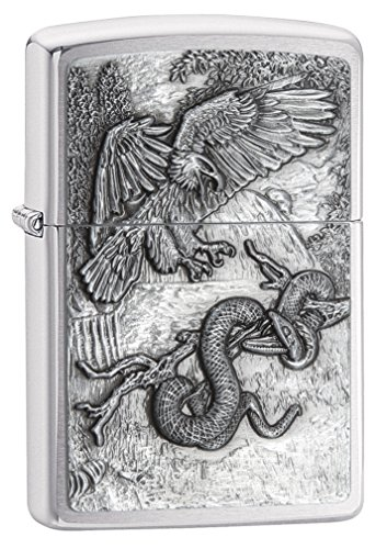 Zippo Eagle vs Snake Emblem Design Brushed Chrome Lighter