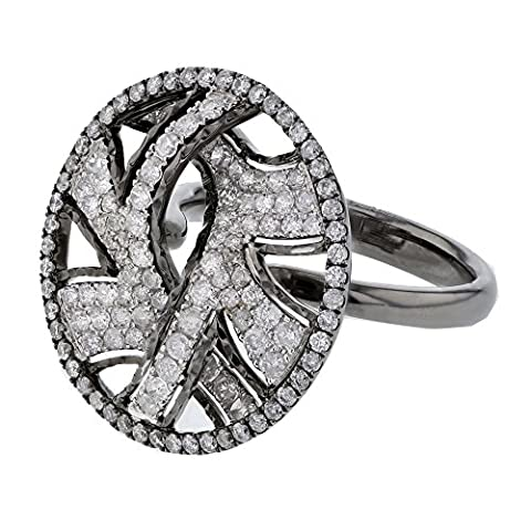 1.27CTW Ladies Round Cut Diamond Pave set Diamond Ring in 14K White Gold (Kunzite Rings In White Gold)