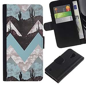 Billetera de Cuero Caso Titular de la tarjeta Carcasa Funda para Samsung Galaxy S4 IV I9500 / Landscape Art Minimalist Teal / STRONG