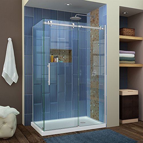 DreamLine Enigma Air 48-3/8 in. W x 34-3/4 in. D Frameless Shower Enclosure in Brushed Stainless Steel, SHEN-6434480-07, 44 3/8-48 3/8
