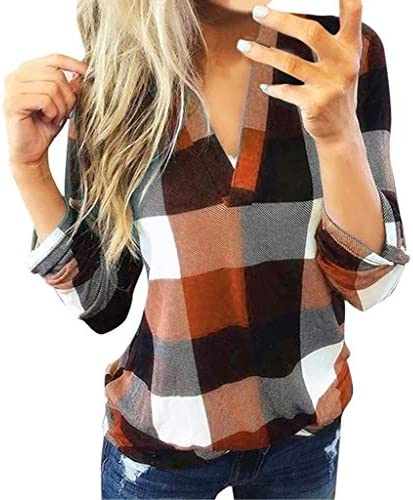 MURTIAL Women Long Sleeve Flannel Plaid Shirt Pullover Sexy V Neck Tops Casual Loose Boyfriend Tunic T Shirts Blouses,S-5XL