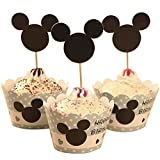 BETOP HOUSE Set of 1 Dozen Mickey Mouse Minnie Cupcake Mufiin Wrappers Toppers Kit for Kids Birthday Party Baby Shower (Mickey)