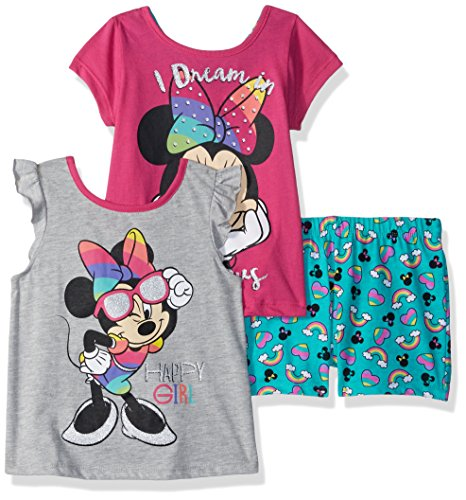 - Disney Girls' Toddler Minnie 3 Piece Short Set, Grey, 3T