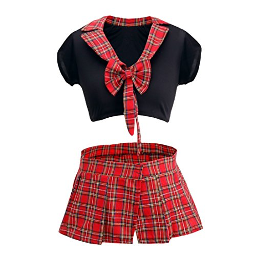 FEESHOW Women School Girl Uniform Cosplay Costume Sexy Lingerie Crop Top with Plaid Skirt Black&Red One (Scottish Girl Halloween Costume)