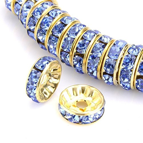50pcs 8mm AAA 14k Gold Plated Copper Brass Rondelle Spacer Round Loose Beads Light Sapphire Blue Austrian Crystal Rhinestone for Jewelry Crafting Making CF4-814