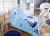 100% Organic Cotton Soft and Healthy Baby Crib Bed Duvet Cover Set 4 Pieces, Trabzonspor Sailor Baby Bedding Set