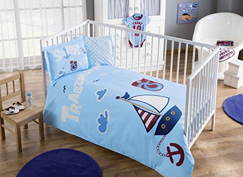 100% Organic Cotton Soft and Healthy Baby Crib Bed Duvet Cover Set 4 Pieces, Trabzonspor Sailor Baby Bedding Set from TAC