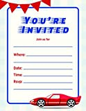 Jot & Mark Kids Party Invitation | Fill in the Blank Birthday Event Invite Cards with Envelopes (20 Count, Blue & Red Race Car)