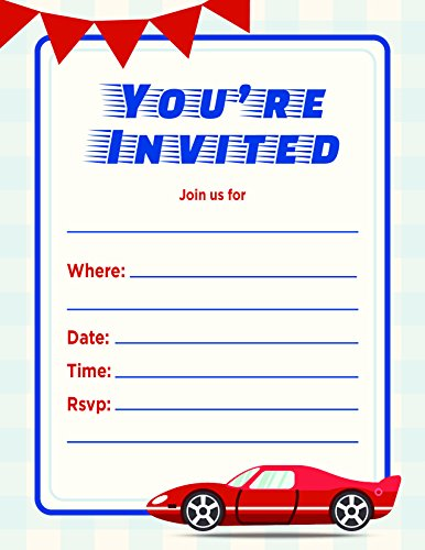 Jot & Mark Kids Party Invitation | Fill in the Blank Birthday Event Invite Cards with Envelopes (20 Count, Blue & Red Race Car) -