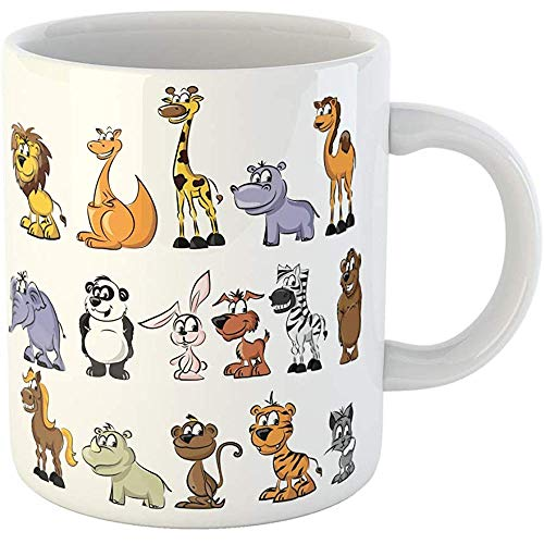 Personalized 11 Ounces Funny Coffee Mug Cartoon of Wild and Domestic Animals Character Zoo Tiger Ceramic Coffee Mugs Tea Cup Souvenir