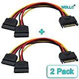 SATA ATA Power Y Splitter Cable Adapter 6-Inch M/F 15 Pin (2 Pack) - WDLLC