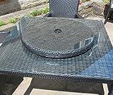 Rattan Lazy Susan Outdoor Garden Table Furniture in Black