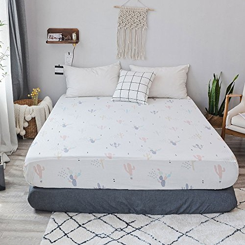 PinkMemory Queen White Fitted Sheet Cactus Print Boys Girls Fitted Bed Sheet Cotton with 20