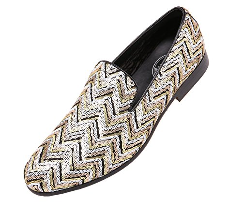 Smoking On Slipper Amali Sequin Slip Gold Patterned Chevy Dress Chevron Shoe Men's Style xpIfB