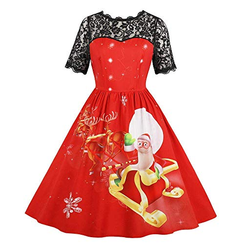 Women's Vintage Floral Boat Neck Cocktail Formal Swing Dress Cocktail Dress(Red Medium)