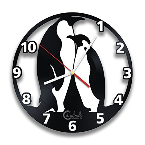 Mother And Child Penguins Vinyl Record Wall Clock, North Pole Cute Animals Art Design by Handmade Solutions Penguin Wall Clock