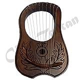 Lyra Harp Engraved Shesham wood/Engraved Lyre Harp 10 Metal Strings Flower/Harfe