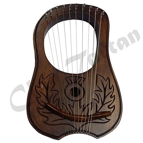 Lyra Harp Engraved Shesham wood/Engraved Lyre Harp 10 Metal Strings Flower/Harfe by Clan Tartan