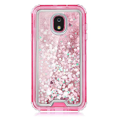 TurtleArmor | Compatible for Samsung Galaxy J7 (2018) Case | J737 | Pink Fitted Dual Layer TPU Bumper Case with Flowing Liquid Waterfall Quicksand Glitter Sparkle Bling Hearts - Pink