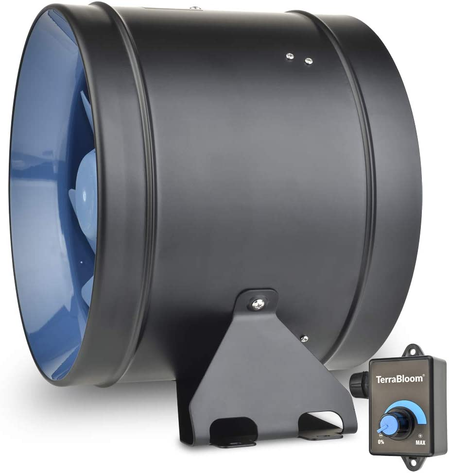 """TerraBloom ECMF-250, Quiet 10"""" Inline Duct Fan with 0-100% Variable Speed Controller, Air Tight Metal Casing, Energy Efficient EC Motor. Heating and Cooling Booster and Exhaust Blower for Grow Rooms"""