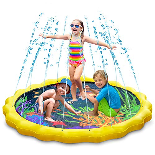 Party Dance Pad - Keten Sprinkler for Kids, Sprinkle & Splash Pad 68'' Outdoor Party Sprinkler Splash Pad for Learning, Inflatable Water Toys for Infants Toddlers and Kids