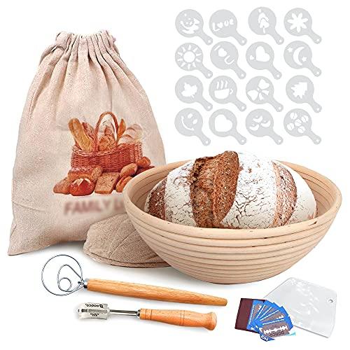 Best Pattern For Bread. 9 Inch Bread Banneton Proofing Kit With Rattan Basket, Linen, Lame, Scraper, Wiskle, Stencils, Scrolling Lame, Bowl Scraper & Linen Bags. Best Gift For Bakers & Bread Lovers