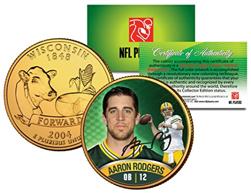 - Merrick Mint AARON RODGERS Colorized Wisconsin Statehood Quarter 24K Gold Plated Coin PACKERS