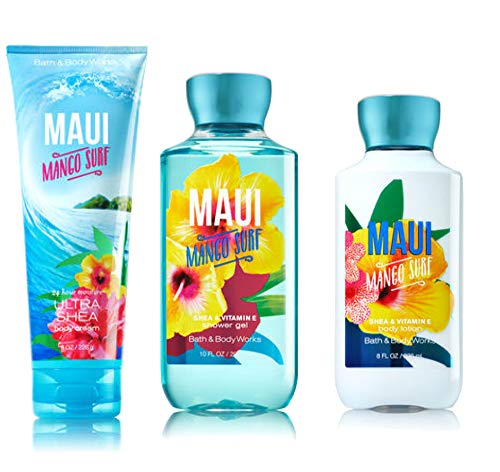 MAUI MANGO SURF Bath & Body Works Body Lotion, Shower Gel & Ultra Shea Cream with a Bonus Cellophane Bag, Gold Bow & Tag