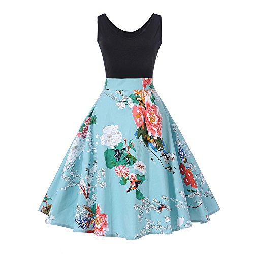 1 Vintage Garden (KUREAS Classy Vintage 50's Floral Spring Garden Retro Party Picnic Dress Sleeveless Sleeveless Cocktail Tea Skirt,XX-Large,Blue-2)