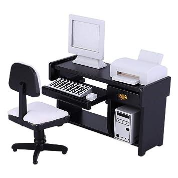 Zerodis- 1:12 Escala Juego de Muebles de Oficina en Miniatura ...