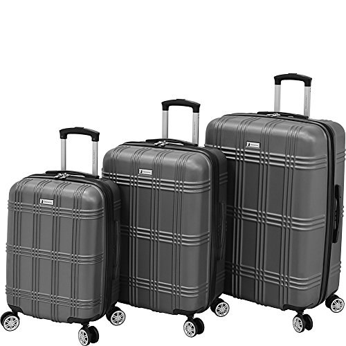 Sets Plaid Luggage (London Fog Kingsbury 3 Piece Spinner Luggage Set, Titanium)