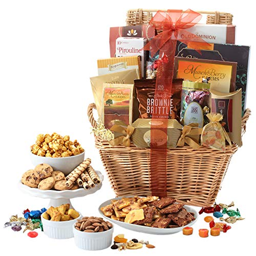 - Broadway Basketeers Gift Basket Deluxe with Chocolates, Lindt Truffles, Assorted Nuts, Gourmet Cookies, Seasoned Nuts, Sweets and More.