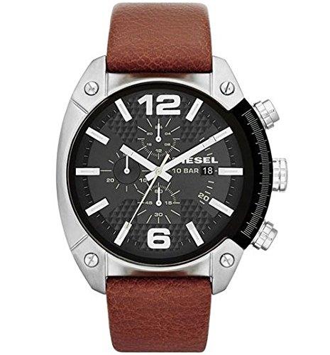 Diesel Men's DZ4296 Overflow Stainless Steel Brown Leather Watch (Diesel Leather Strap Watch)