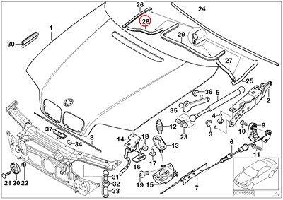 BMW Genuine Engine Hood Mounting Parts Engine Compartment Right Seal Sealing 320i 323Ci 323i 325Ci 325i 325xi 328Ci 328i 330Ci 330i 330xi M3