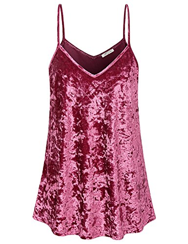 SeSe Code Camisole for Women Ladies Tops to Wear with Leggings Spaghetti Strap Tank Burgundy Church Clothes Cozy Sparkly Floating Pleat Loose Camis Wine Red XXL by SeSe Code