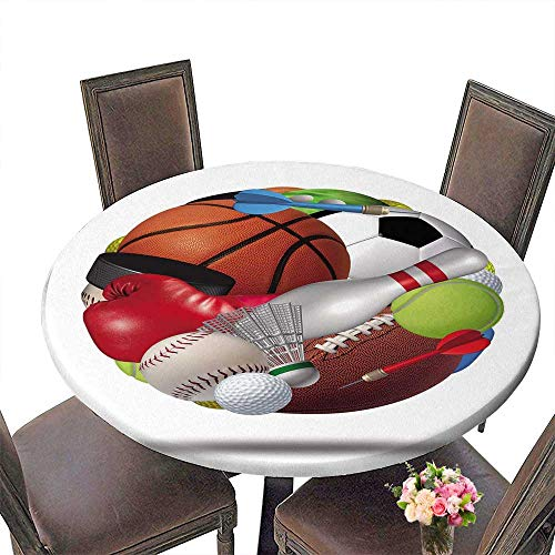 (Luxury round table cloth for home use Sports ball as a sphere made with an organized group of sport equipment asfootball basketball for Buffet Table, Holiday Dinner 55
